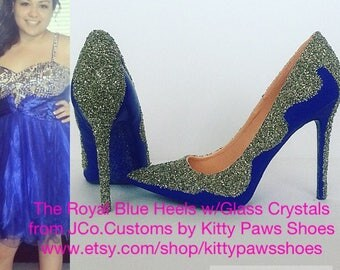 The Royal Blue Heels w/Glass Crystals from JCo.Customs by Kitty Paws Shoes (Prom/Homecoming Edition)