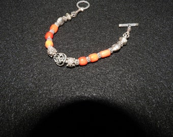 Red Coral Beads and Bali Silver Bracelet