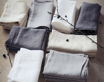 Linen Napkins - 4 Pack - Pre Washed and Softened. Made in Ireland.