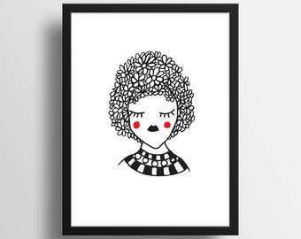 """Illustration """"La fille du printemps"""" A4 Print"""