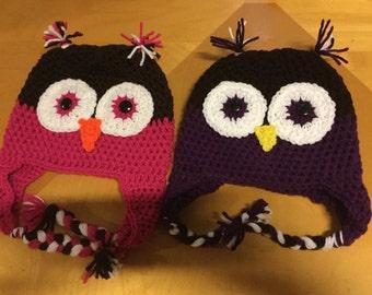 Owl beanie with earflaps