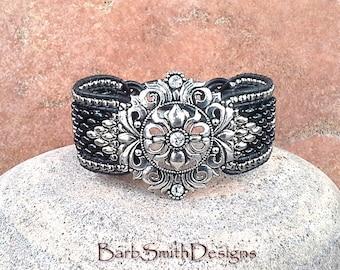 Black Silver Leather Beaded Cuff Bracelet - The Lavish Lady - Custom size it!
