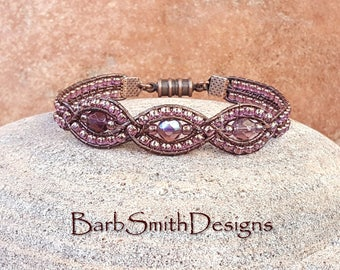 "Purple Amethyst Copper Leather One Wrap Bracelet - The Mystic Sister in Amethyst - Size 6 3/8"" Around"