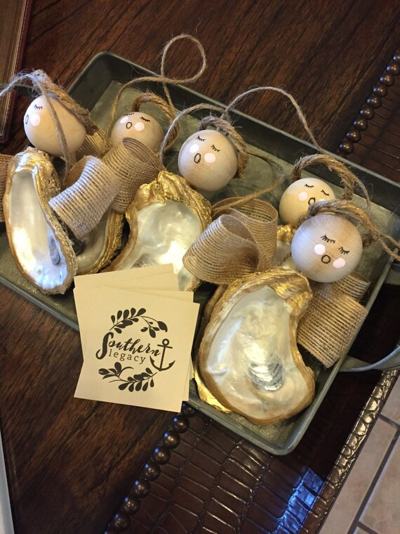 Oyster Shell Angel Christmas Ornament