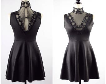 VTG Black High Collar Lace Skater Dress