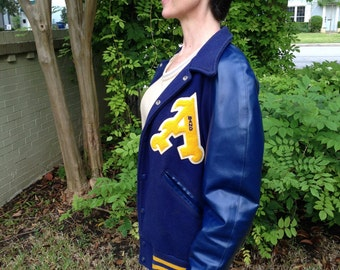 Vintage Medium to Large Letter Jacket, 1980s Austin Texas Band Varsity Jacket, Size Medium Men's Jacket, Size Large Women's Jacket