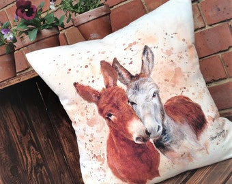 Jack & Diane Donkeys Cushion, Handmade, Bree Merryn, Linen, Cotton Velvet, British Farm Animals, Farm Life,  Barnyard, Country Style