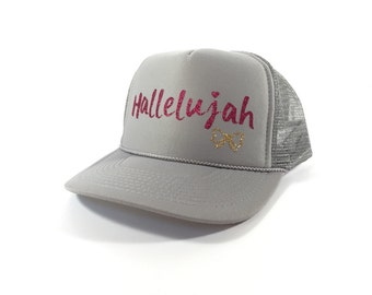 Hallelujah Trucker Hat-Pink/Gray (Adult)