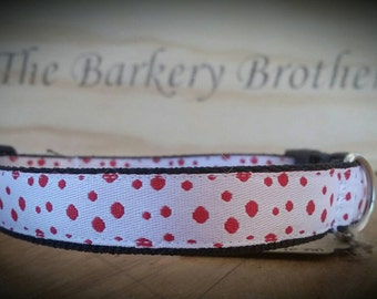 Handcrafted Dog Collar / polka dot / white and red / longer length