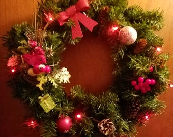 14inch lighted christmas wreath with or without scent