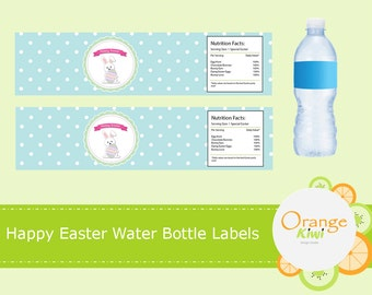 Happy Easter Water Bottle Labels, Happy Easter Water Bottle Wraps, Waterproof Labels, Easter Party Decor, Easter Bunny Egg