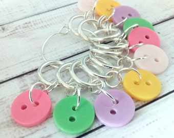 Pastel Button stitchmarkers - knitting or crochet progress markers place holders - pastel stitch makers