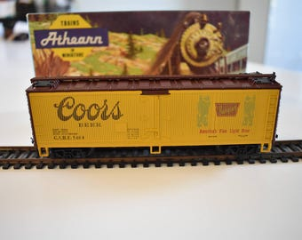 Vintage Mid-Century 1970's Athearn HO Model Train Coors Beer, Old West Box Car,  Antique HO Trains, Vintage HO Train, Coors Beer Box Car
