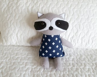 MINI raccoon plushie, plush, softie, doll, rattle