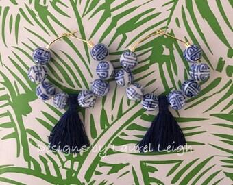Chinoiserie Tassel Hoop Earrings - NAVY, blue and white, royal blue, porcelain, gold, Chinese