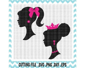 Girl Silhouette Svg, Princess Silhouette Cutting Files, Svg-Dxf-Png-Pdf, Cut/ Print Files For Silhouette Cameo/ Cricut, Svg Download.