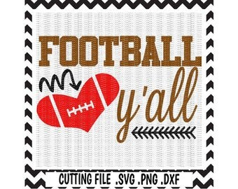 Football Svg, Football Y'all, Heart Football, SVG-DXF-PNG, Cutting Files For Silhouette Cameo & Cricut.