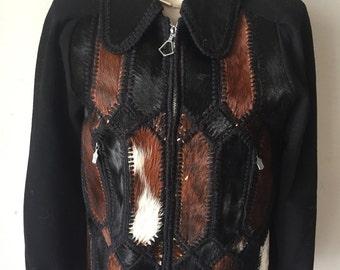 Haute Couture Short Vintage Black Genuine Pony Fur Coat Women's Size Small.