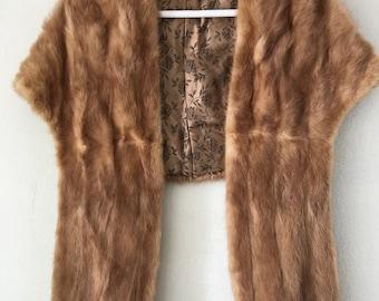 Beige women's fur bolero, real mink, soft fur, fluted form, retro design, warm bolero, festive look, vintage style, size-universal.