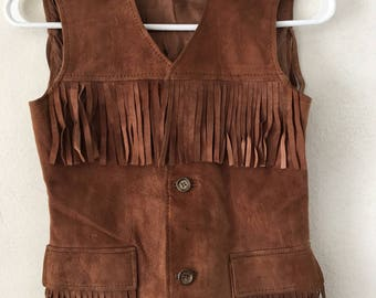 Western Style Fringed Vintage Brown Genuine Suede Vest Lightweight Kid's  Size Extra Small.