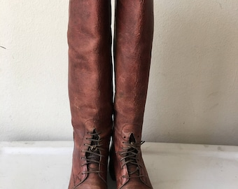 Brown long boots leather horse boots strong leather, real vintage old boots retro style woman's boots size 8 1/2 - 9 US.