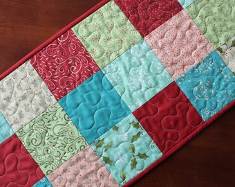 Aqua Christmas Table Runner, Very Merry Table Runner, Aqua Quilted Christmas Table Runner, Christmas Table Topper, Pink Blue Green Aqua Red