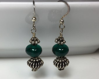 Dark Teal Lampwork Earrings