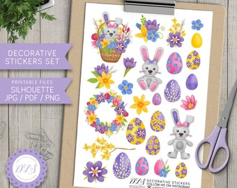 Easter Decorative Stickers, Easter Planner Stickers, Easter Bunny Stickers, Easter Egg Stickers, Easter Scrapbook Stickers, Printable, DS111