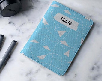 Paperplane Light Blue - Personalized Passport Cover/Holder - Travel Passport Cover - High Quality Handmade Leather | TG-PPC-455