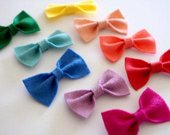 Simple Wool Felt Hair Bows for Baby & Girls, Basic Felt Bow on Hairbow Clip or Nylon Headband, Custom Match Outfit From Rainbow Colors