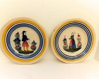Pair HR Quimper Pottery French Antique Hand Painted Petit Breton / Petite Bretonne Plates (C280)
