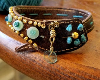 Ancient Roman Glass & Amazonite Gold Beaded  Leather Bracelet, Womens Leather Cuff Exclusive Jewelry Southwestern Bohemian Style Cuff