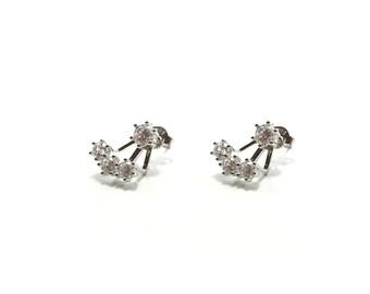 Ear Jacket - Front back earrings - Cz earrings - Minimalist earrings - Minimal ear jacket - Minimalist ear jacket - Dainty ear jacket
