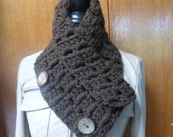 Crocheted chunky neck warmer with coconut buttons.  Free domestic USPS priority shipping!!