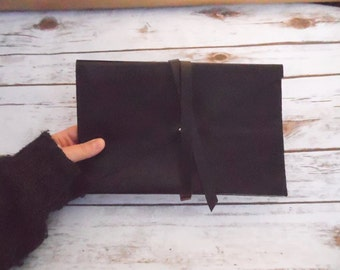 leather clutch bag, leather clutch, leather bag, clutch bag, evening bag, horween clutch bag, carry-all pouch, black leather clutch, clutch