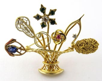 Vintage 14K Yellow Gold Flower Basket Stick Pin Brooch Handcrafted #307