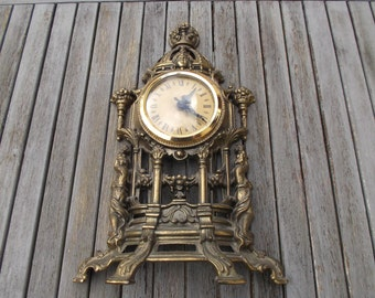Clock art nouveau in ornate brass and Cherubim, in working condition - old clock with cherubs