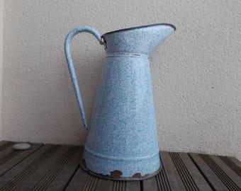 Big Blue enamelled broc jug - former french broc enamel white and blue speckled - enamelled, umbrella vase - large vase floor entry