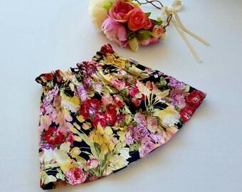 Girls Paper bag Skirt, High waisted Skirt, Paperbag, Floral Skirt, blue floral