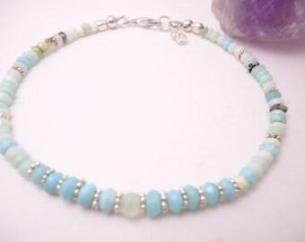 Peruvian Opal Bracelet Opal Bracelet Andean Opal Bracelet Blue Bracelet Beaded Bracelet Gemstone Bracelet
