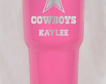 20 or 30 oz pink yeti or rtic dallas cowboys cup  Personalized!!