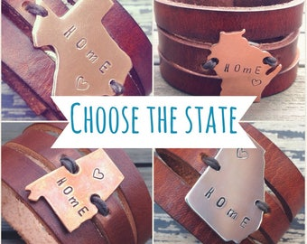 CHOOSE Your State Leather Bracelet, Home State Bracelet, Leather Cuff Bracelet with State Charm, Womens Custom Leather Cuff, Graduation Gift
