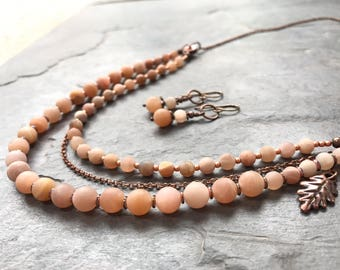 Sunstone antique copper necklace and earring set