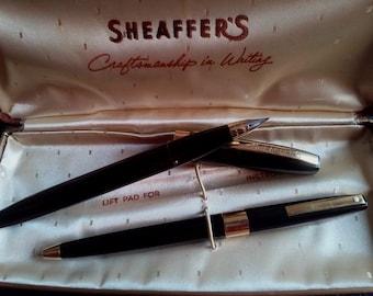 USA SHEAFFER'S SET, Fountain Pen&Pen, Medium M Gold Plated Nib, Sheaffer's U.S.A Fountain Pen's Set, Vintage Fountain Pen, Fountain Pen, Pen