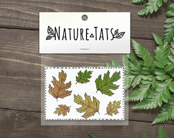 Fall Leaves Temporary Tattoo, Collection of 6, Nature Tattoo, Colorful Oak Leaves Tattoo, Autumn Leaf Tattoo