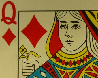 16 Queen of Diamonds Playing Cards Swap Poker for Crafts Arts Banners Projects