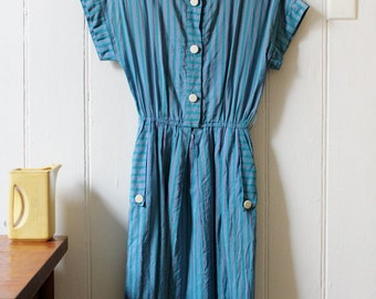 1970's Vintage Blue Green Striped Dress with Elastic waist - Medium