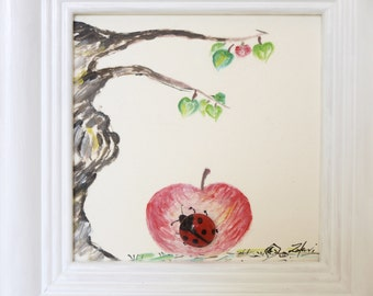 3D - stone image with oil paint, decoration, gift, birthday, handmade painted: the Ladybug sitting under the Apple tree