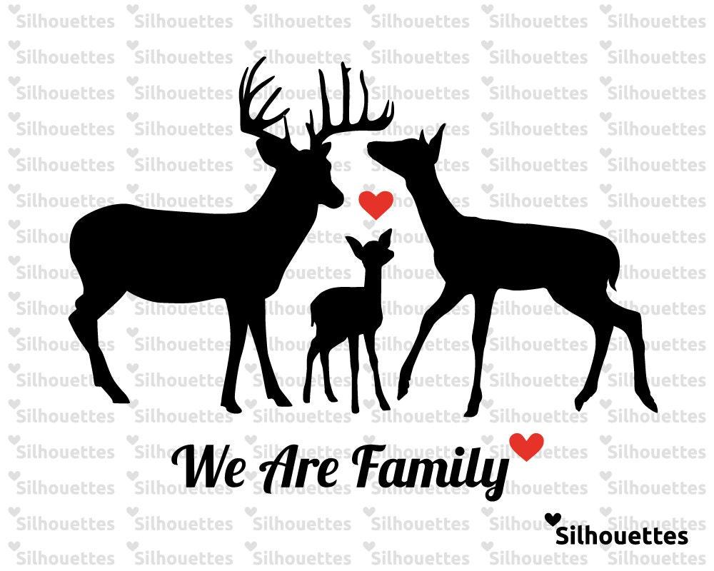 SVG Deer family silhouette eps svg dxf jpg png Vector