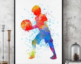 Basketball Boy Gift, Sports Decor, Watercolor Print, Basketball Gifts, Kid Boy Room Wall Art (N028)
